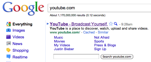 YouTube. You know, that site where they have videos, Justin Bieber, etc.