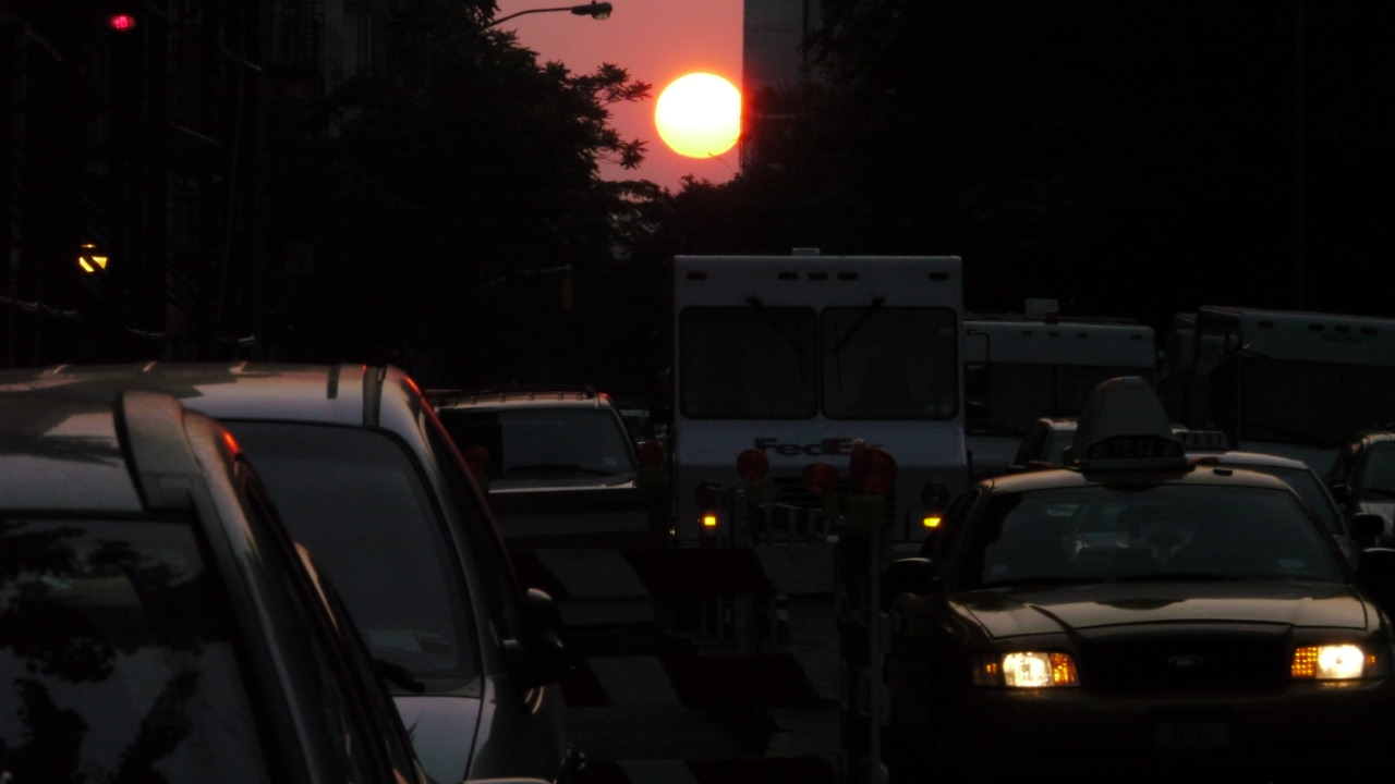Sunset tonight, looking down 18th street on corner of 7th avenue.