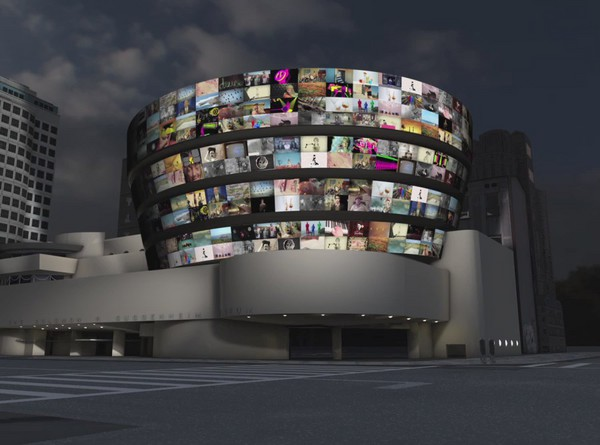 faketv :     YouTube Play @ Guggenheim - sneak peak of wall projections to go live 10/21