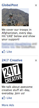 "Facebook Ads Grammar Police:   ""Every day"" or ""everyday""?       Everyday  is a single word and is an adjective, so it's the one that is used in front of a noun to describe something as normal or commonplace.  Every day  is an adjective (every) plus a noun (day), and it means each day.        I'd say that although both uses in the screenshot above are potentially correct, my call is that GlobalPost has used ""every day"" correctly whereas 24/7 Creative has used ""everyday"" when their meaning is actually ""every day."" Thoughts?"