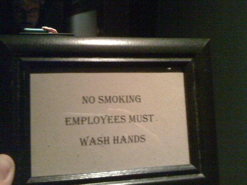Conclusion: all smoldering employees are exempt from this bit of the health code.
