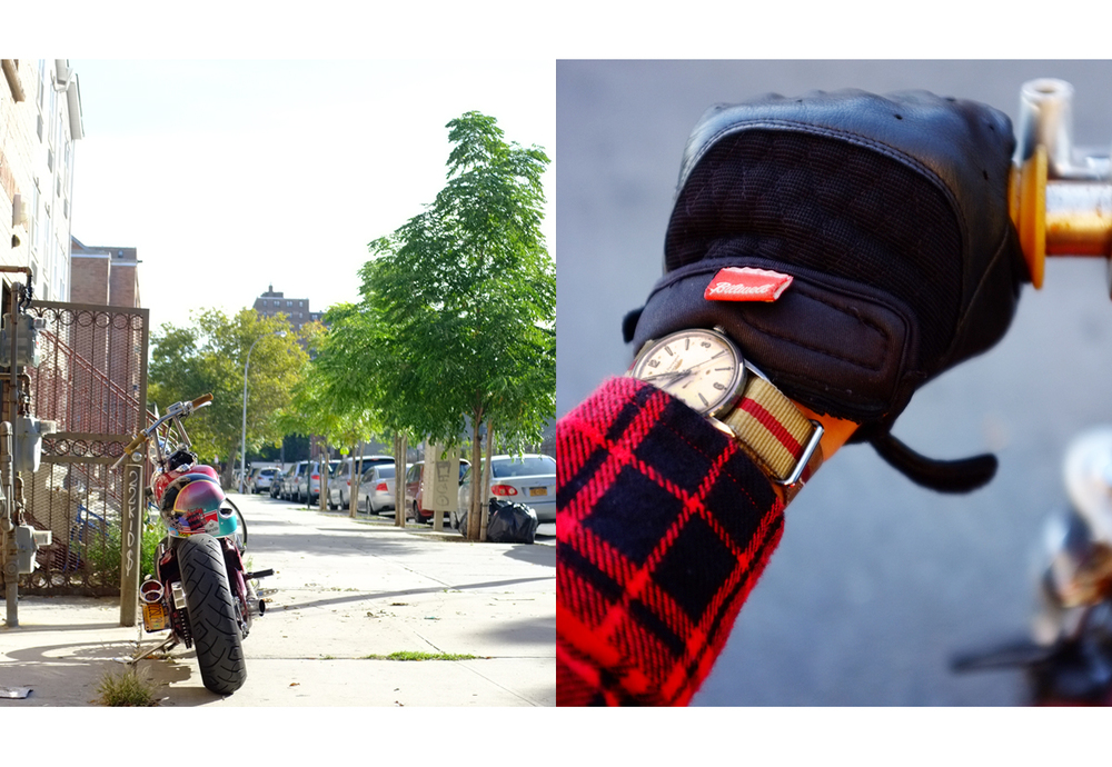 With a new camera in hand, its time to get things back rolling. It's been a while since you heard from us and its a lot to say on here. But you'll be seeing me back on here more often. Here's one from today. This photo is cross-pollination of some things that I like and into. Biltwell Bantam Gloves, Girard Perregaux Gyromatic (1952), 10 Deep® Engineer Buttondown, Custom Fullface painted by me, and my baby 1992 VLX 600.