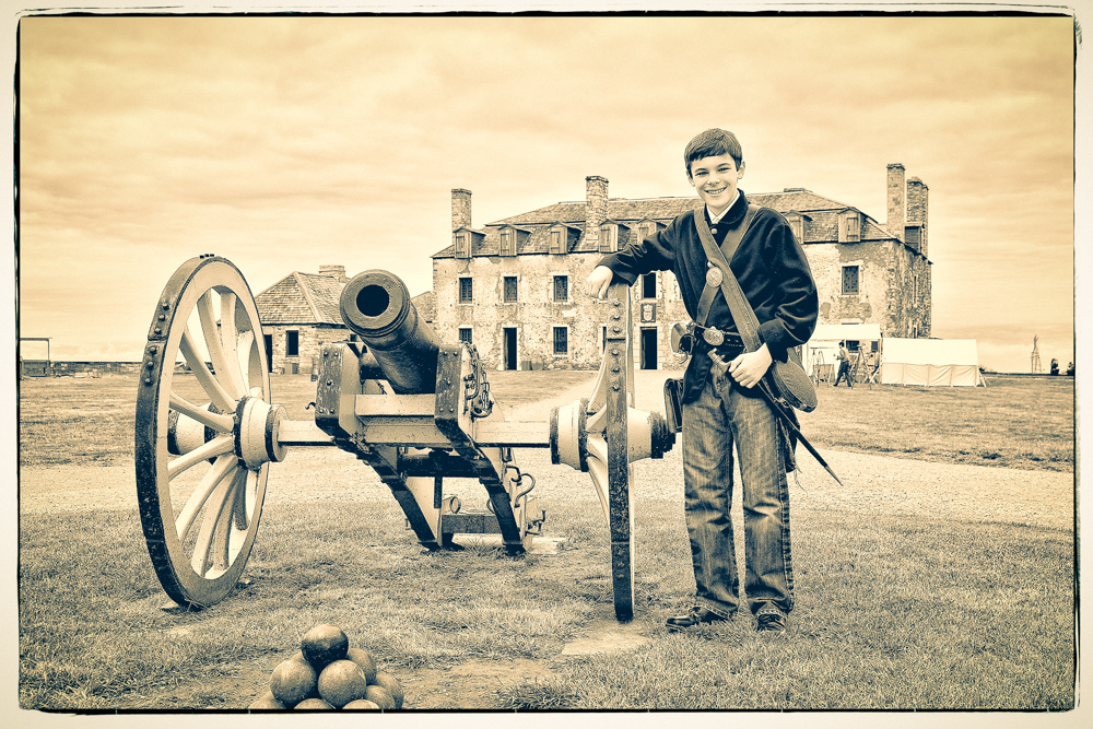 Proud moment posing with cannon.
