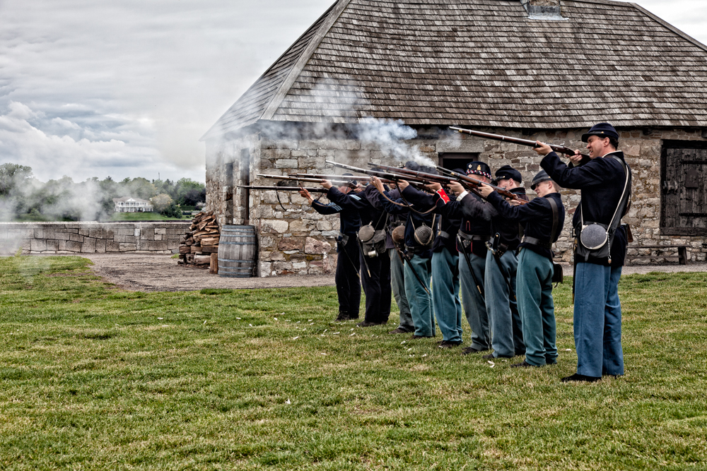Musket drill.
