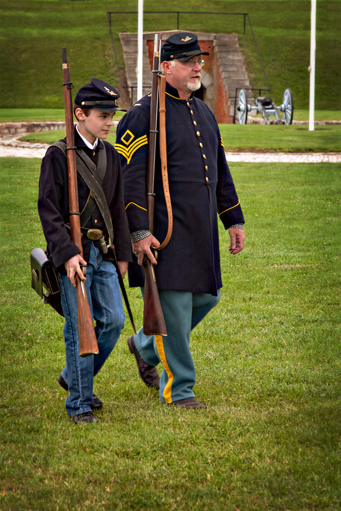 Noah marching with his commanding officer.