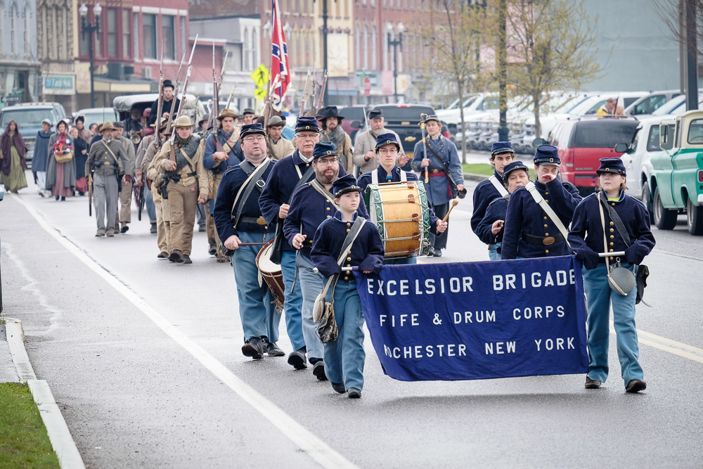 Parade through downtown on the way to the cemetery.