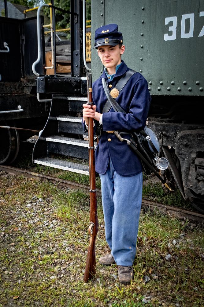 Guarding the train.