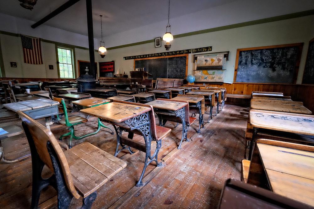 Schoolhouse interior.