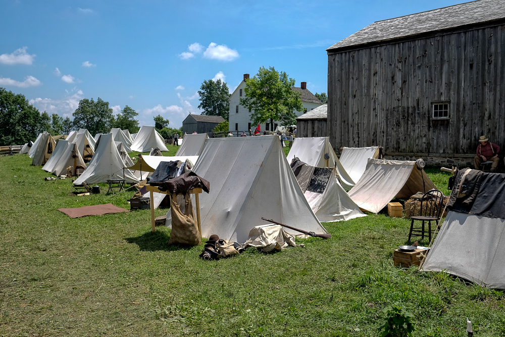 Rebel camp in the village