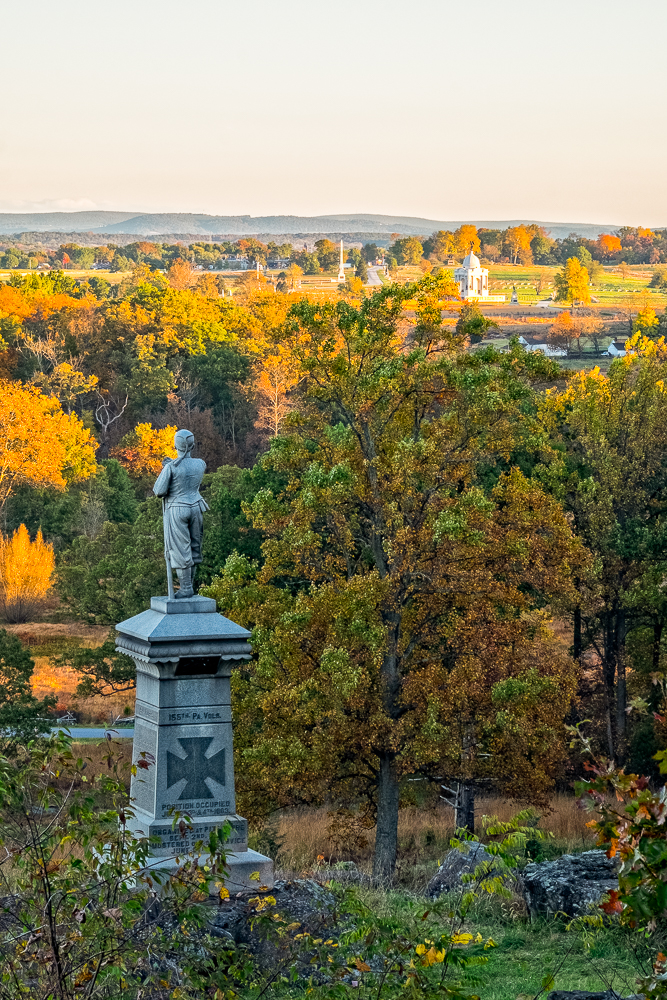 View of the Pennsylvania Monument in the distance from Little Round Top