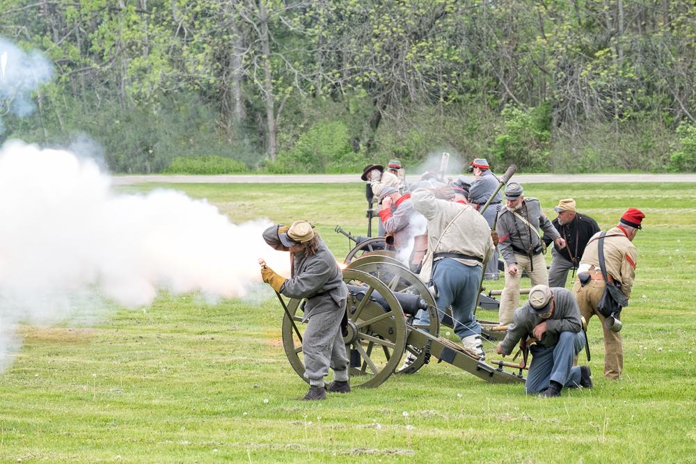 Confederate Artillery fire.