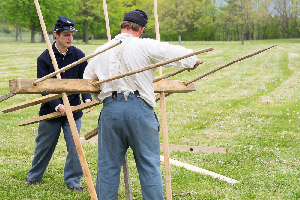 Building the Chevaux-De-Frise which is a battlefield obstacle used against calvary.