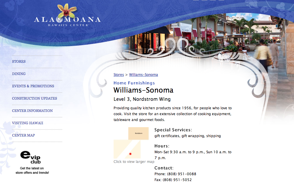 Williams Sonoma's April 5 Artisan Event. 9:30Am to 3:00PM at Ala Moana Center, Oahu