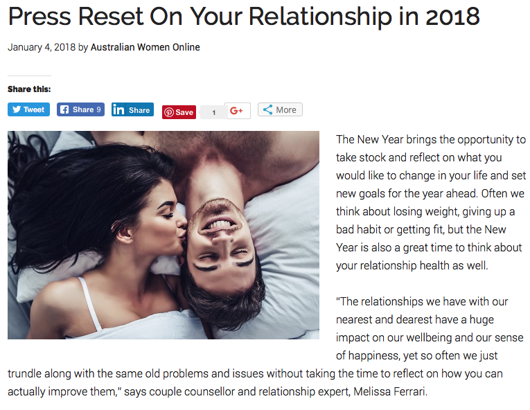 Press Reset on Your Relationship in 2018 - Australian Women Online