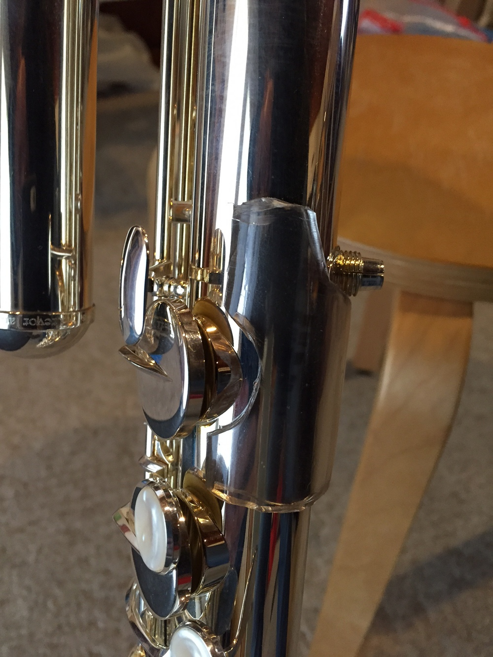 the plastic tube cut to fit around my Trevor James bass flute for better traction with my left hand