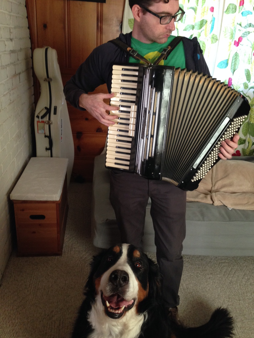 Got an accordion serenade from Isaac Schankler.