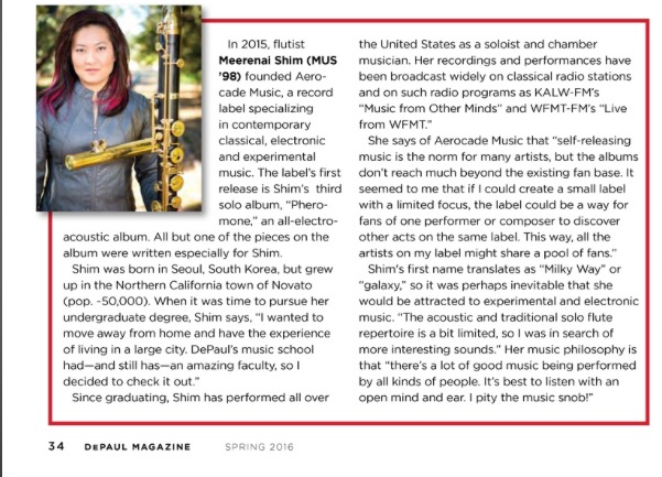 DePaul Magazine , the DePaul University alumni publication, has a little profile on me in the Spring 2016 issue.