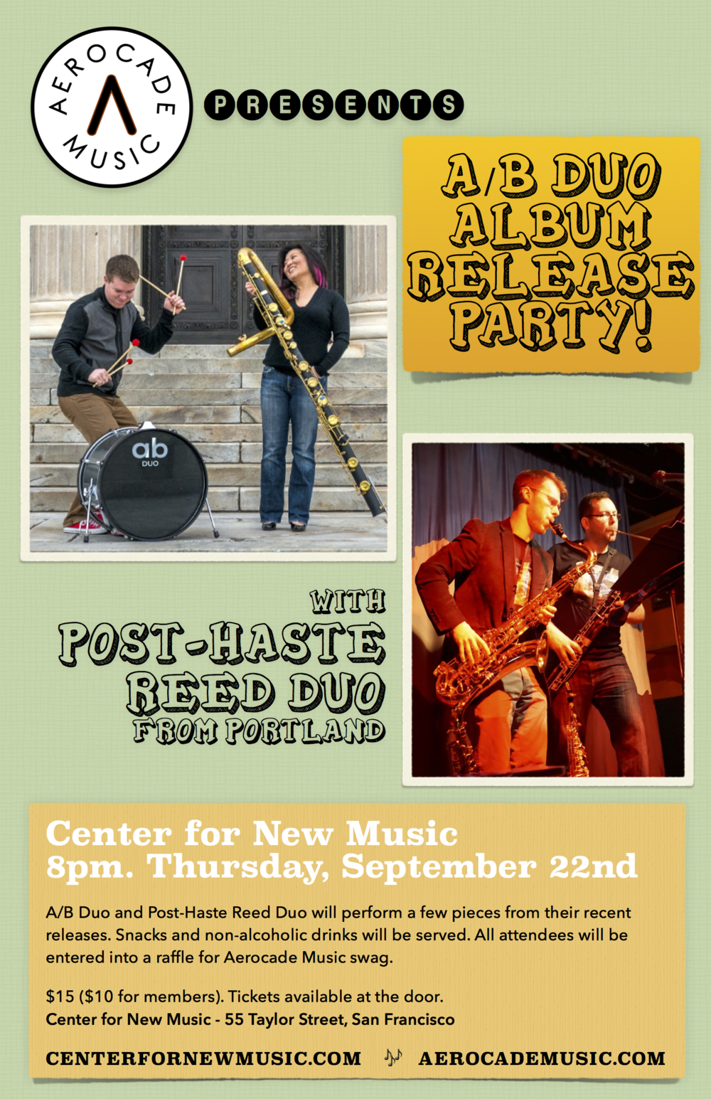 San Francisco, CA - Center for New Music - A/B Duo CD Release show