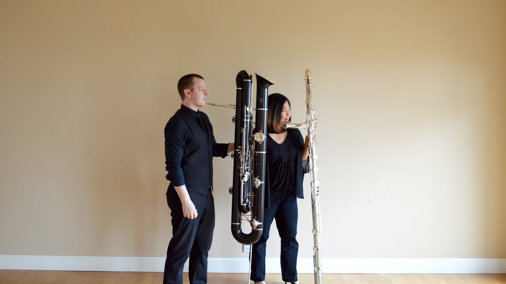 Keyed Kontraptions: Kris King (contraforte) and I (contrabass flute)