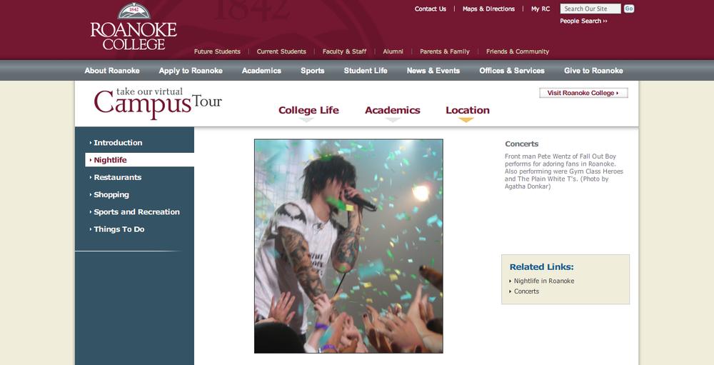 Roanoke College website, 2008
