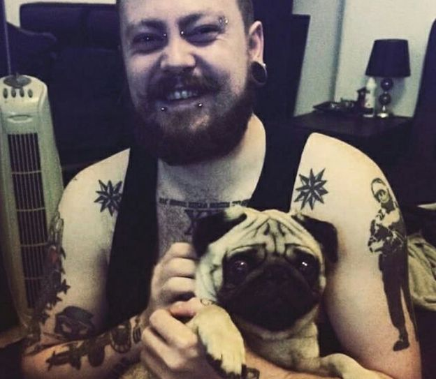 Mark Meechan with his girlfriend's dog, Buddha