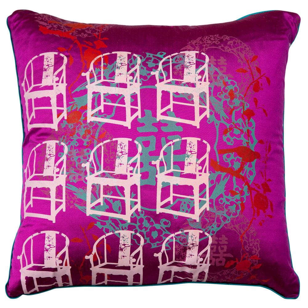 Grandmau0027s Antique Chair Cushion Cover (Fuchsia)