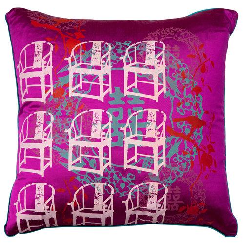 Grandma's Antique Chair Cushion Cover (Fuchsia) - Grandma's Antique Chair Cushion Cover (Fuchsia) — Talking Textiles