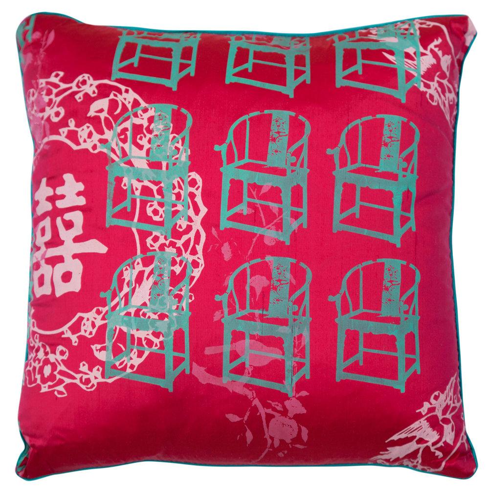 Grandmau0027s Antique Chair Cushion Cover (Magenta)