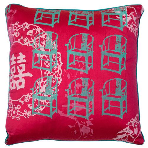 Grandma's Antique Chair Cushion Cover (Magenta) - Grandma's Antique Chair Cushion Cover (Magenta) — Talking Textiles