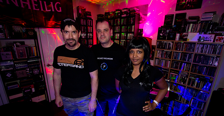 Communion After Dark is hosted by DJs Griffin, left, Paradise and Maus. The weekly radio show spotlights the latest and best in alternative-electronic music.