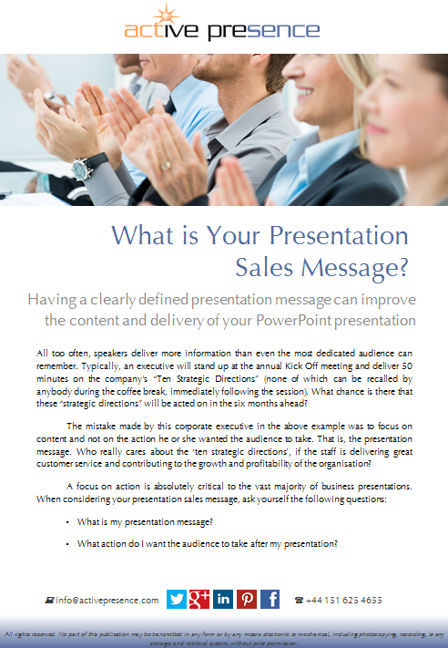 what is your sales presentation message? free advice