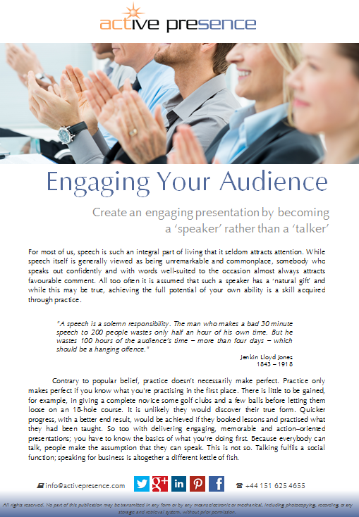 engaging your audience free advice
