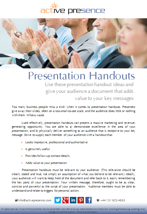 presentation handouts free advice