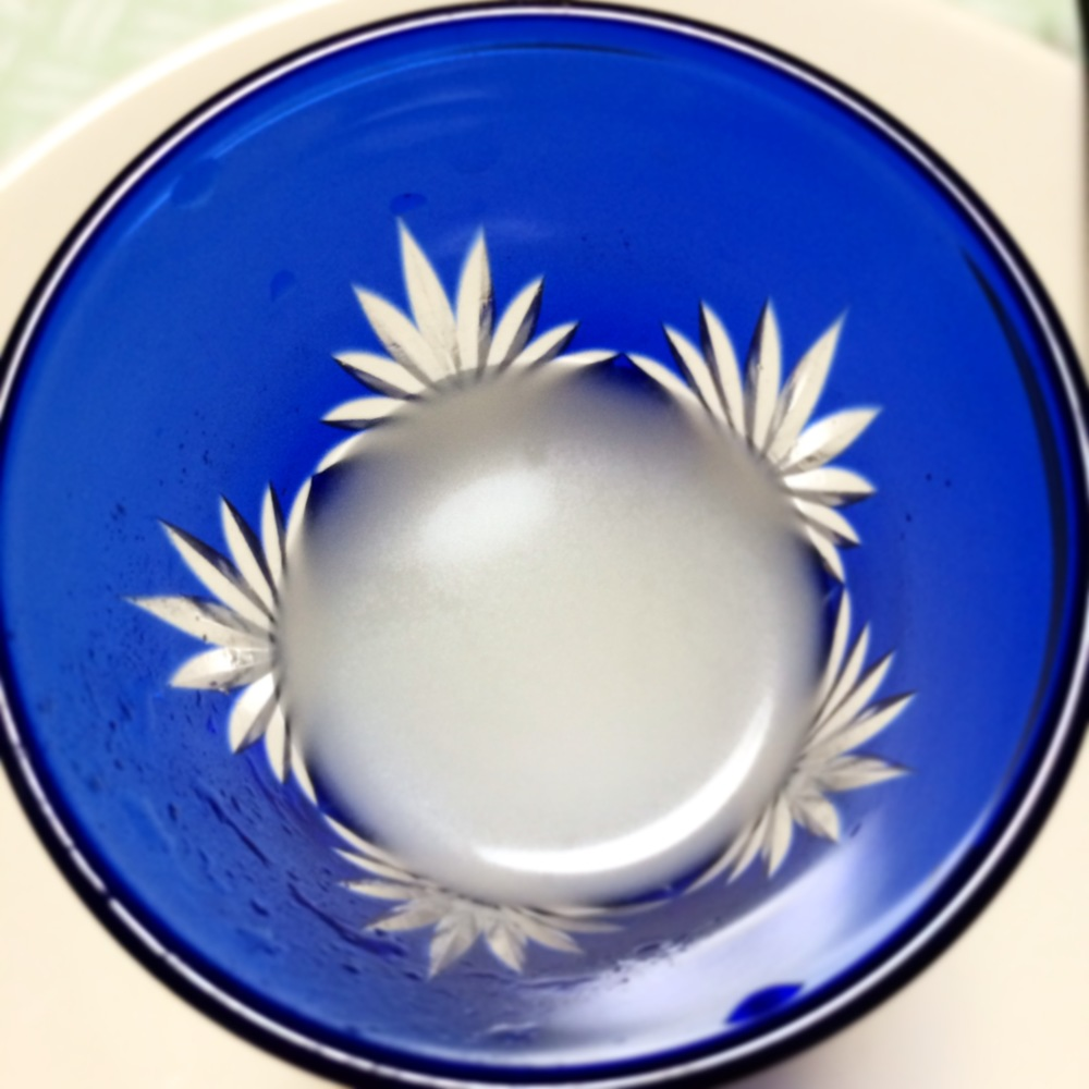 Milky sake in Kiriko glass