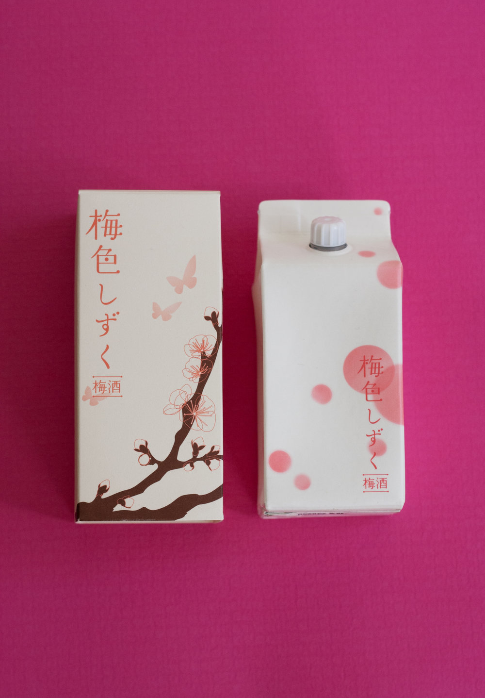 "Individual Plum wine carton comes with a pretty sleeve. ""Ume-iro Shizuku"" from Kozaki Shuzo Nabedana, in Narita, also has 320 years of history. 鍋店"