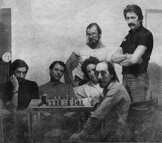 Il gruppo La Metacosa nel 1979. Da sinistra a destra: (seduti) Sandro Luporini, Lino Mannocci, Bernardino Luino, Gianfranco Ferroni, (in piedi) Giorgio Tonelli, Giuseppe Bartolini.