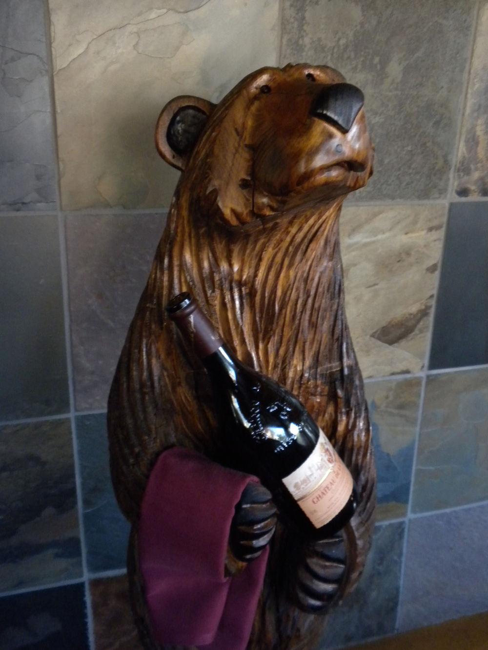 3 1/2 ft Bear Holding Wine Bottle