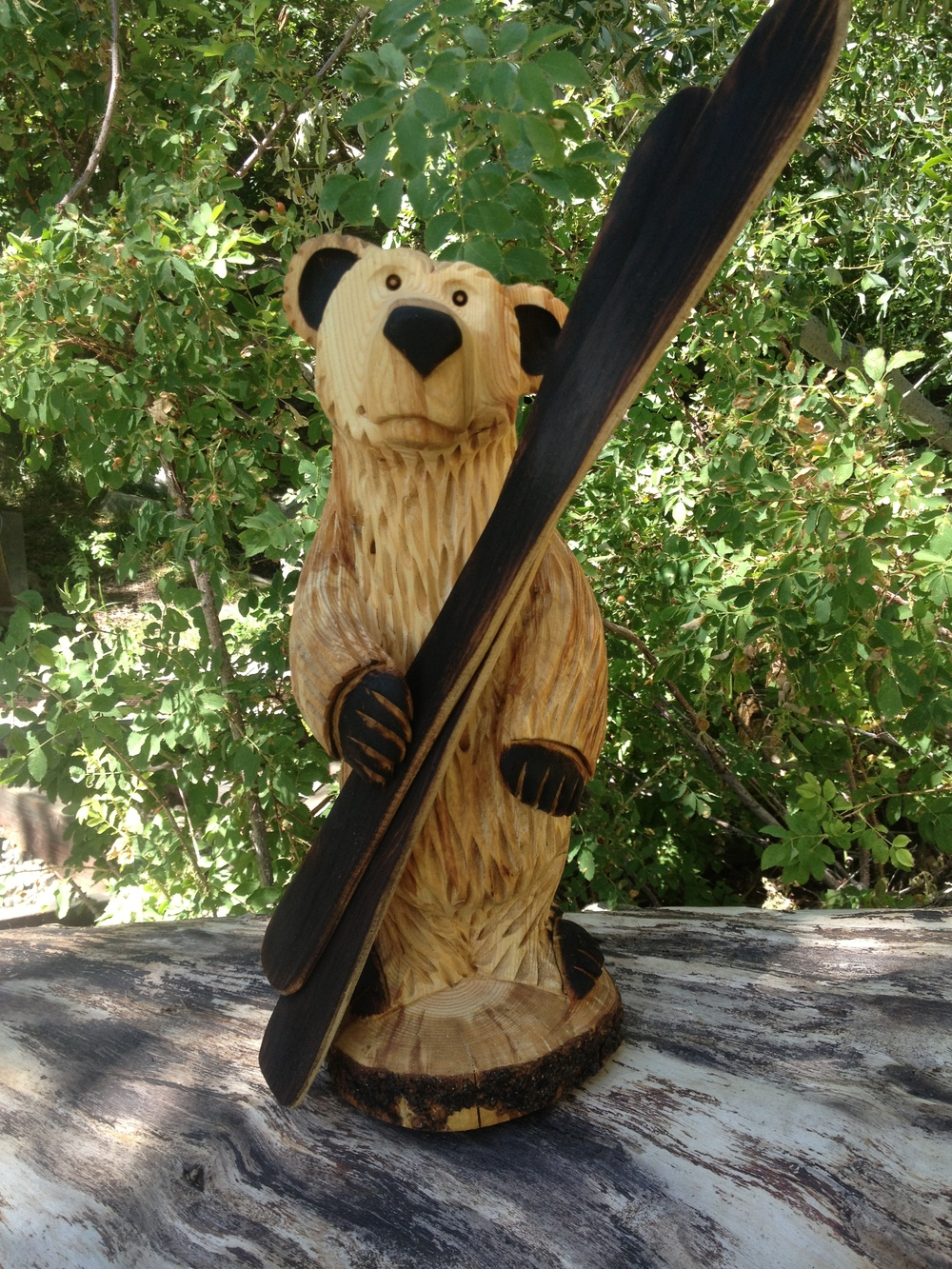 2 ft Bear holding skis