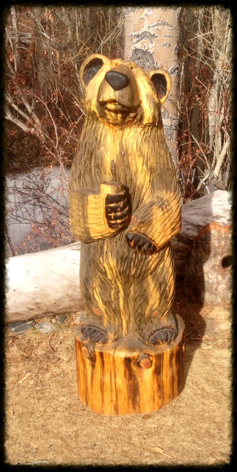 4' Bear Holding Mug