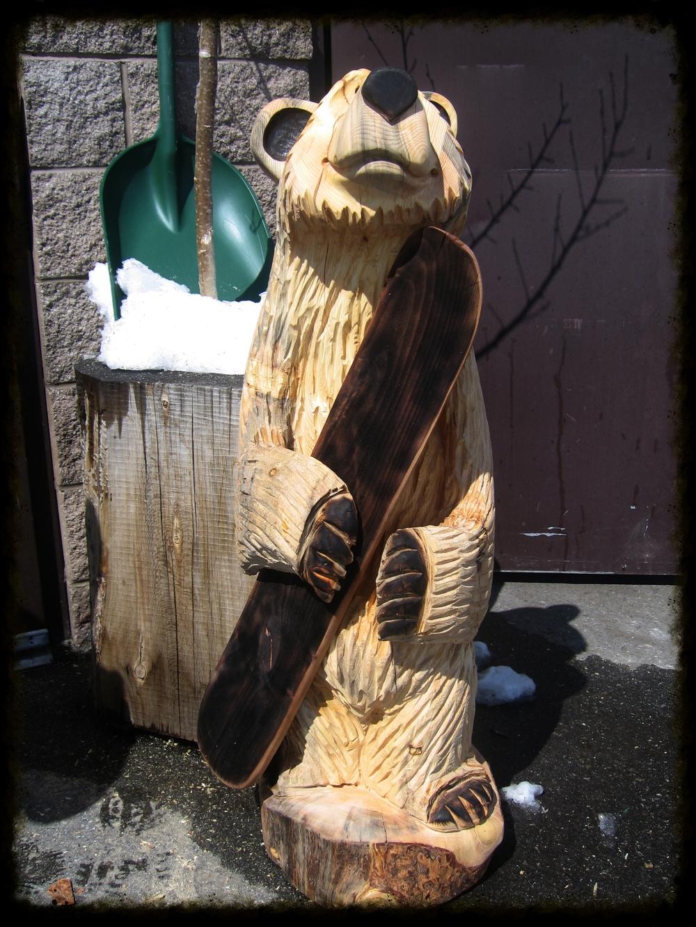 3' Bear holding snowboard