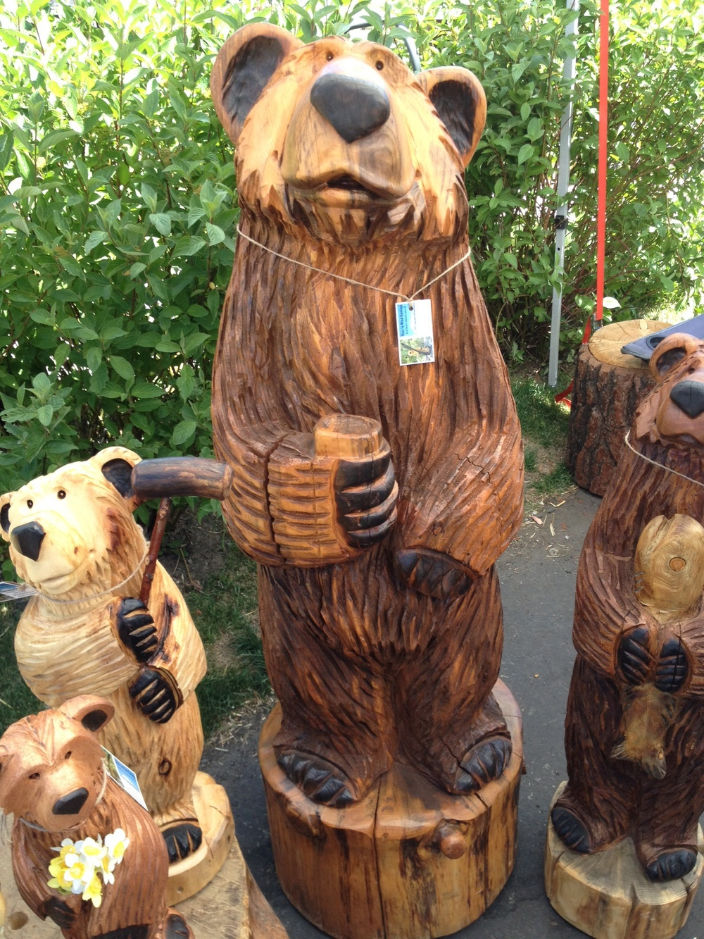 5' bear holding mug