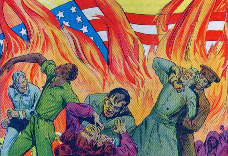 Section from the cover of Cold War anti-communist propaganda comic book Is This Tomorrow: America Under Communism