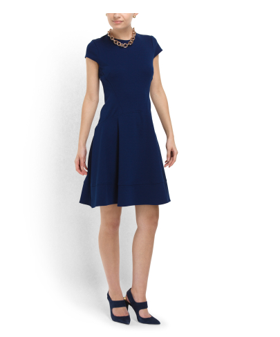 GABBY SKYE Fit And Flare Blue Ponte Dress