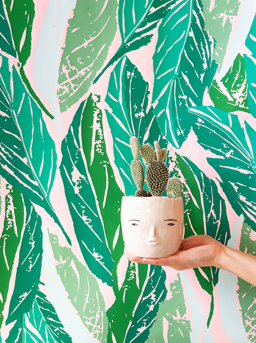Rami Kim ceramics and Justina Blakeney wallpaper for As Of Now and The Jungalow .