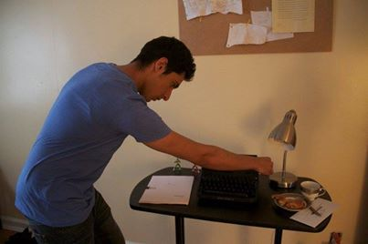 Actor/Producer Zuher Khan getting used to the workings of his prop typewriter before shooting a crucial scene.