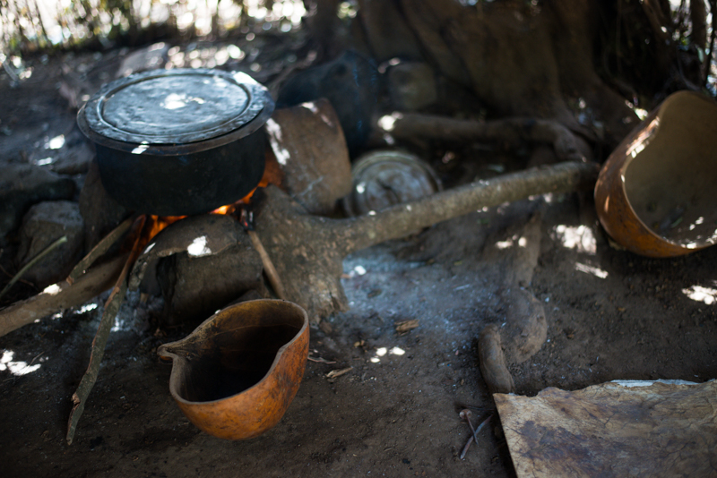 Food is cooked over an open fire and served in calabashes made from gourds.