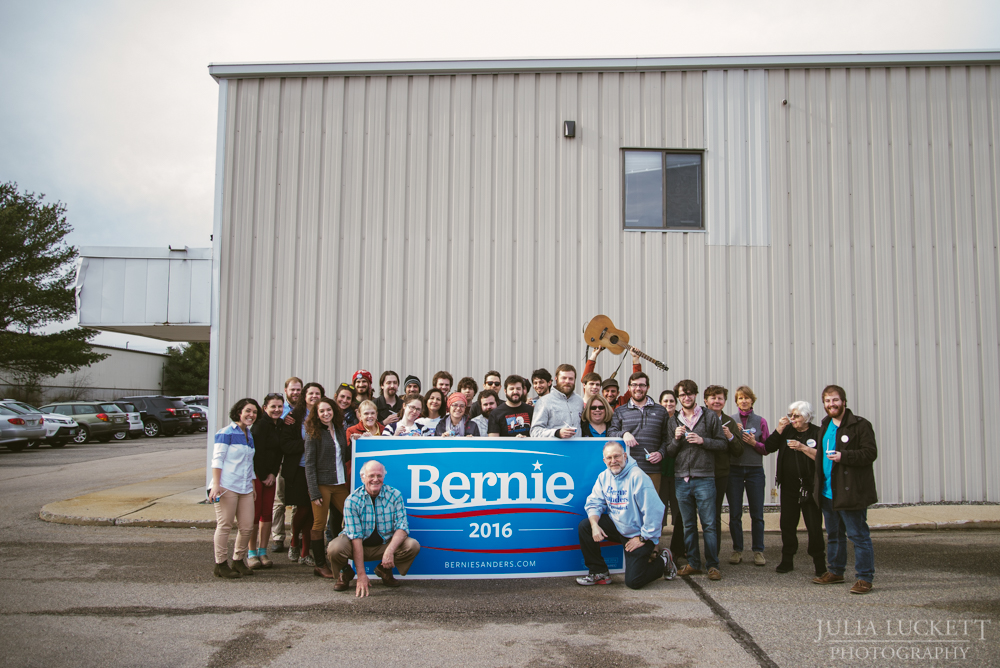 Volunteers gather around Ben & Jerry at the Portsmouth Field Offices.
