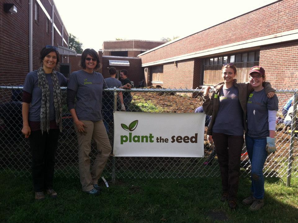 Plant the Seed: (from left) Garden programs coordinator liz, executive director Susannah, Garden Programs Coordinator Megan, Garden Intern Anita