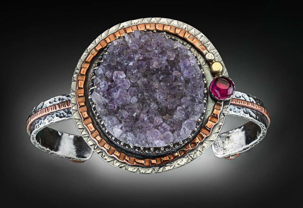 Amethyst Drusy Cuff Bracelet with Ruby accent in sterling silver, 18k gold and copper