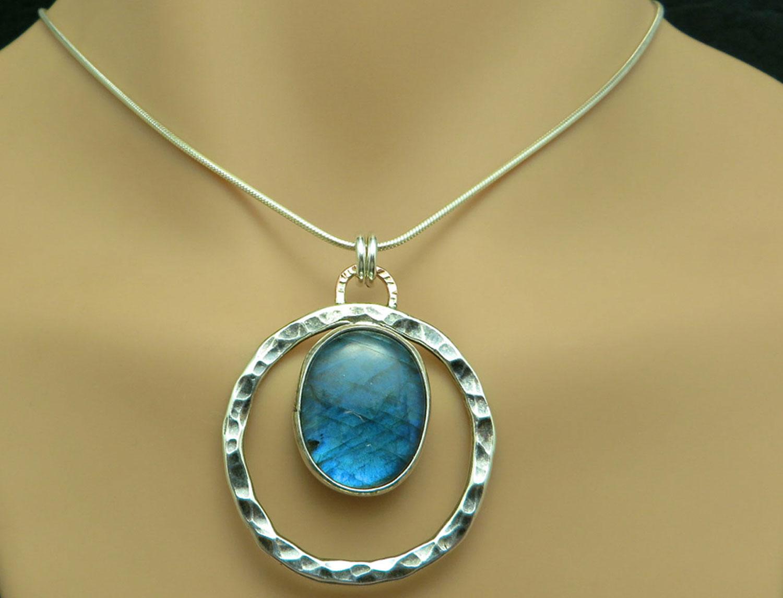 Labradorite Moon Necklace Custom Handmade Jewelry Earrings
